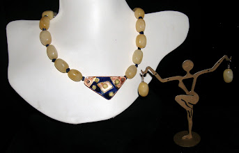 Photo: <BEREHYNYA> {Great Goddess Protectress} unique one-of-a-kind statement jewellery by Luba Bilash ART & ADORNMENT  #93 - LIFE'S BOUNTY ~ ЩЕДРІСТЬ ЖИТТЯ - copper enamel pendant; agate; lapis lazuli; rose gold vermeil $120/set SOLD/ПРОДАНИЙ