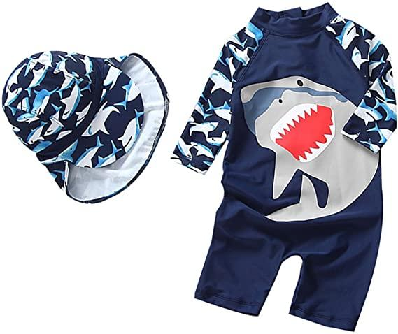 TAIYCYXGAN Baby Boys Kids Swimsuit One Piece Toddlers Zipper Bathing Suit Swimwear with Hat Rash Guard Surfing Suit UPF 50+