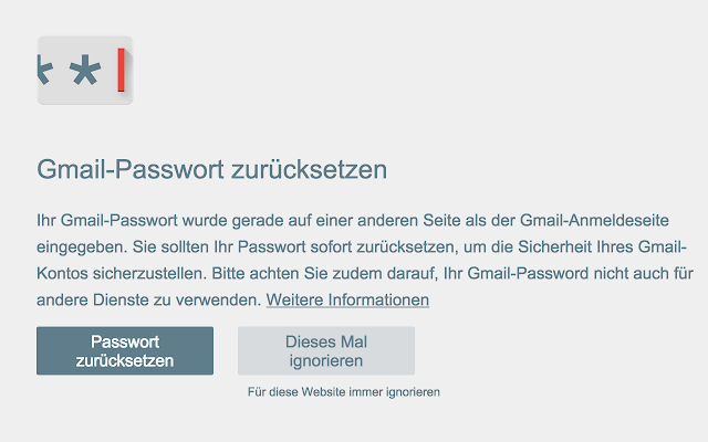 Passwort-Warnung Screenshot