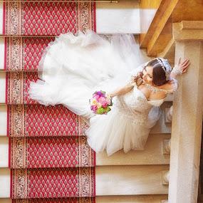 bride on a stairways by Jovan Barajevac - Wedding Bride ( love, stairs, stairway, wedding, dress, beauty, bride, magic moments wedding )