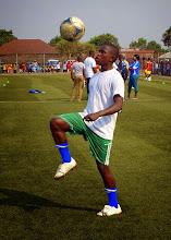 Photo: Sulaiman Samura (CBF) warming up [before the Sierra Leone U20 versus Guinea in 2015 CAF U-20 first round qualifying (Picture: Myrthe van Vliet)]