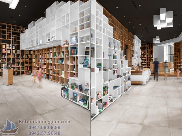 thiết kế nhà sách đẹp, thiết kế nội thất nhà sách