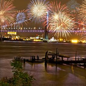 by Alice Gipson - Abstract Fire & Fireworks ( pwcfireworks, alicegipsonphotographs, fireworks, ben franklin bridge, philadelphia, bridge )