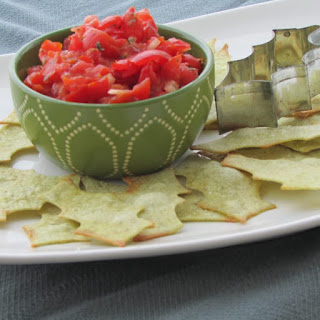 Festive and Easy Homemade Bruschetta with Holly Leaf Flatbread Chips