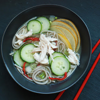 Chilled Cucumber Soup with Soba Noodles.