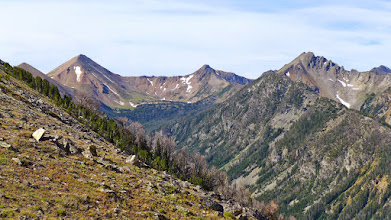 """Photo: Starting to enjoy some great views - Granite Peak on the left - Not to be confused with """"THEE Granite Peak"""" (highest peak in Montana, located in the Beartooth Mountains)."""