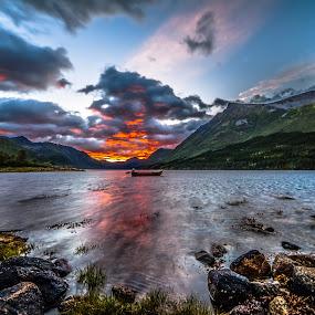 Fire sunset by Benny Høynes - Landscapes Sunsets & Sunrises ( canon, sky, sunset, benny, landscapes, fire, norway,  )
