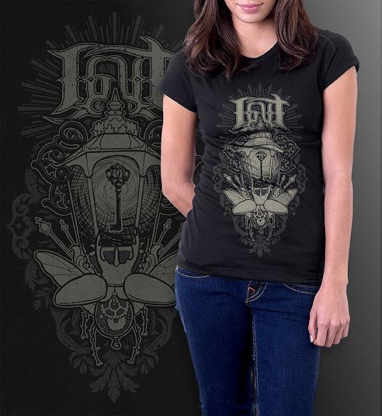 """Photo: """"Clockwork scarabei""""  Black shirt.  2 color print.  Sizes: S, M, L"""