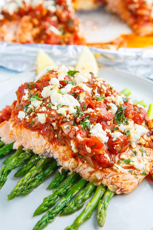 Salmon in a Tomato and Feta Sauce