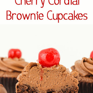 Cherry Cordial Brownie Cupcakes.