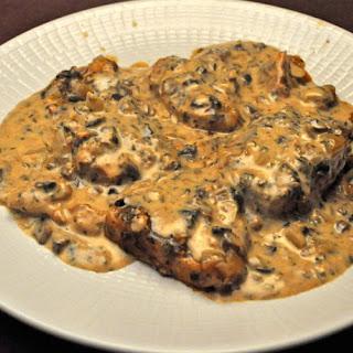 Slow Cooker Pork Chops, Mushroom Sauce.