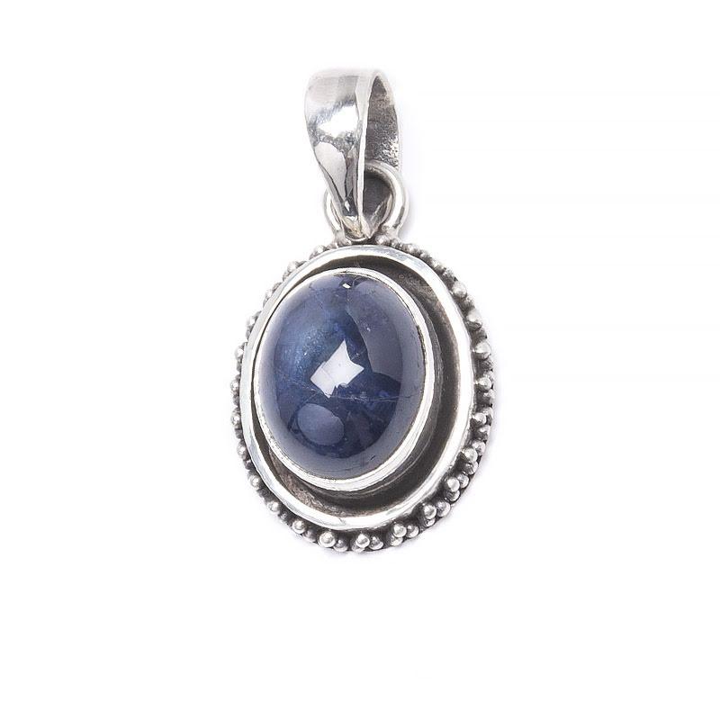 Safir ovalt hänge med silverfiligran