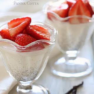 Vanilla Bean Panna Cotta with Strawberries.