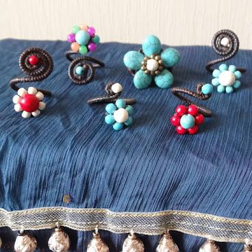蠟線小花戒指  (Wax thread little rings)