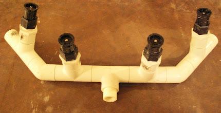 Photo: Detail of sprinkler head sprayer assembly.