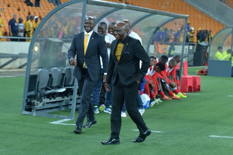 Steve Komphela and Vina Maphosa during the Absa Premiership match between Kaizer Chiefs and Free State Stars at FNB Stadium on February 07, 2017 in Johannesburg.