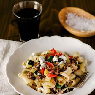Greek(ish) Pasta with Lamb, Zucchini, and Feta.