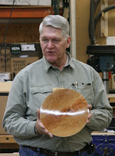 Photo: Bert Bleckwenn talks about his adventures in finishing on this crotch-figure cherry platter.  He wants to know how to avoid that too-shiny look and plans to take it back down to a satin appearance.