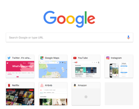 Material Design New Tab Page in Chrome