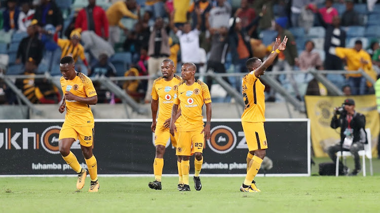 George Maluleka of Kaizer Chiefs celebrates goal with teammates during 2017 Telkom Knockout match between Kaizer Chiefs and AmaZulu at Moses Mabhida Stadium, Durban South Africa on 28 October 2017.