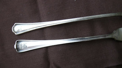 Photo: Silver service shrimp fork and ice-tea spoon with PA logo
