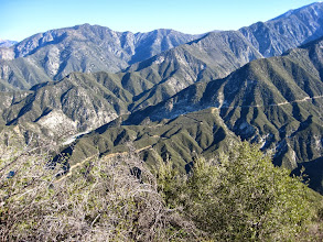 Photo: View north – from the top:  Iron Mt. and Gunsight Notch Coldwater Canyon Bighorn Ridge Cattle Canyon Lookout Mt. ridge Cow Canyon