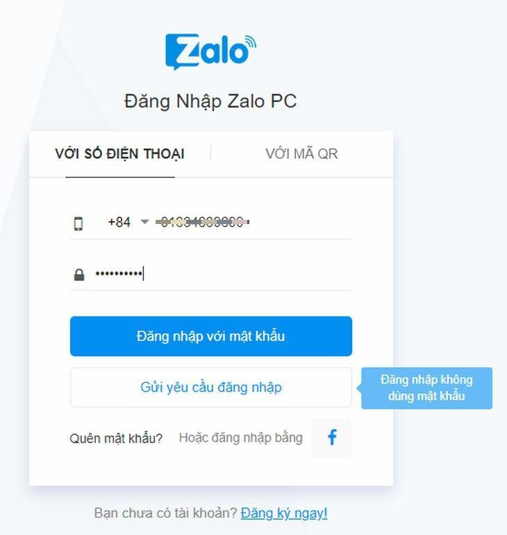Đăng nhập zalo web bằng cách gửi yêu cầu về điện thoại