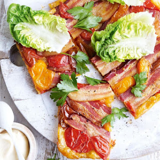 Bacon and tomato tarte Tatin with cos salad