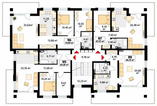 Akant 4 - Rzut pierwszego piętra