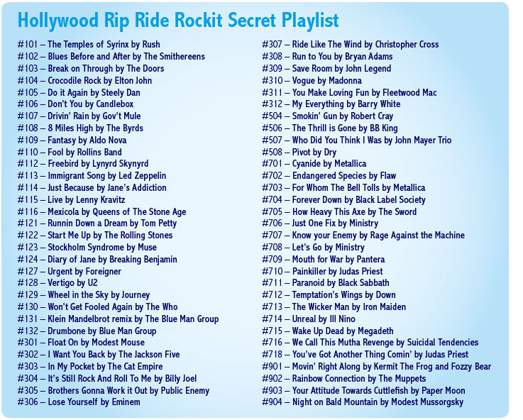 Hollywood Rip Ride Rockit secret playlist