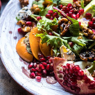 Pomegranate Avocado Salad with Candied Walnuts.