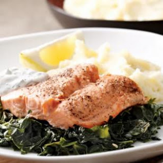 Arctic Char on a Bed of Kale.