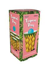Förpackning med tropical pong, mugg och boll på utsidan