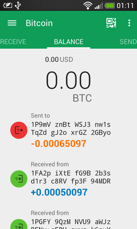 UberPay Bitcoin Wallet- screenshot