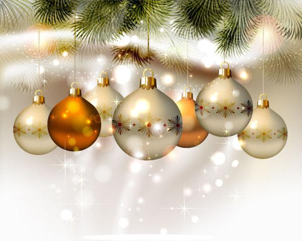 精美圣诞彩球背景01—矢量素材-节庆-矢量