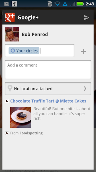 Photo: You can set which circles you want to share with, and add a comment to the share post.