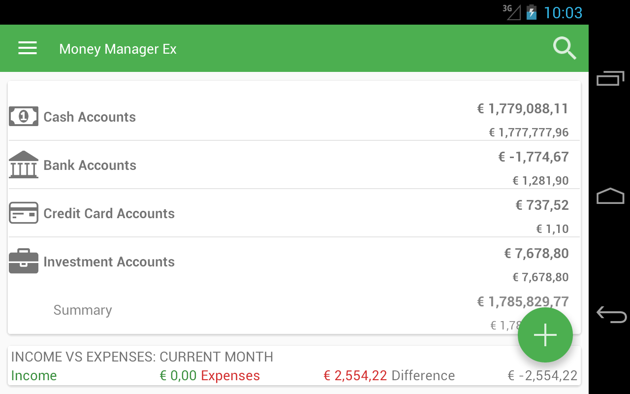 MoneyManagerEx Android, Beta- screenshot