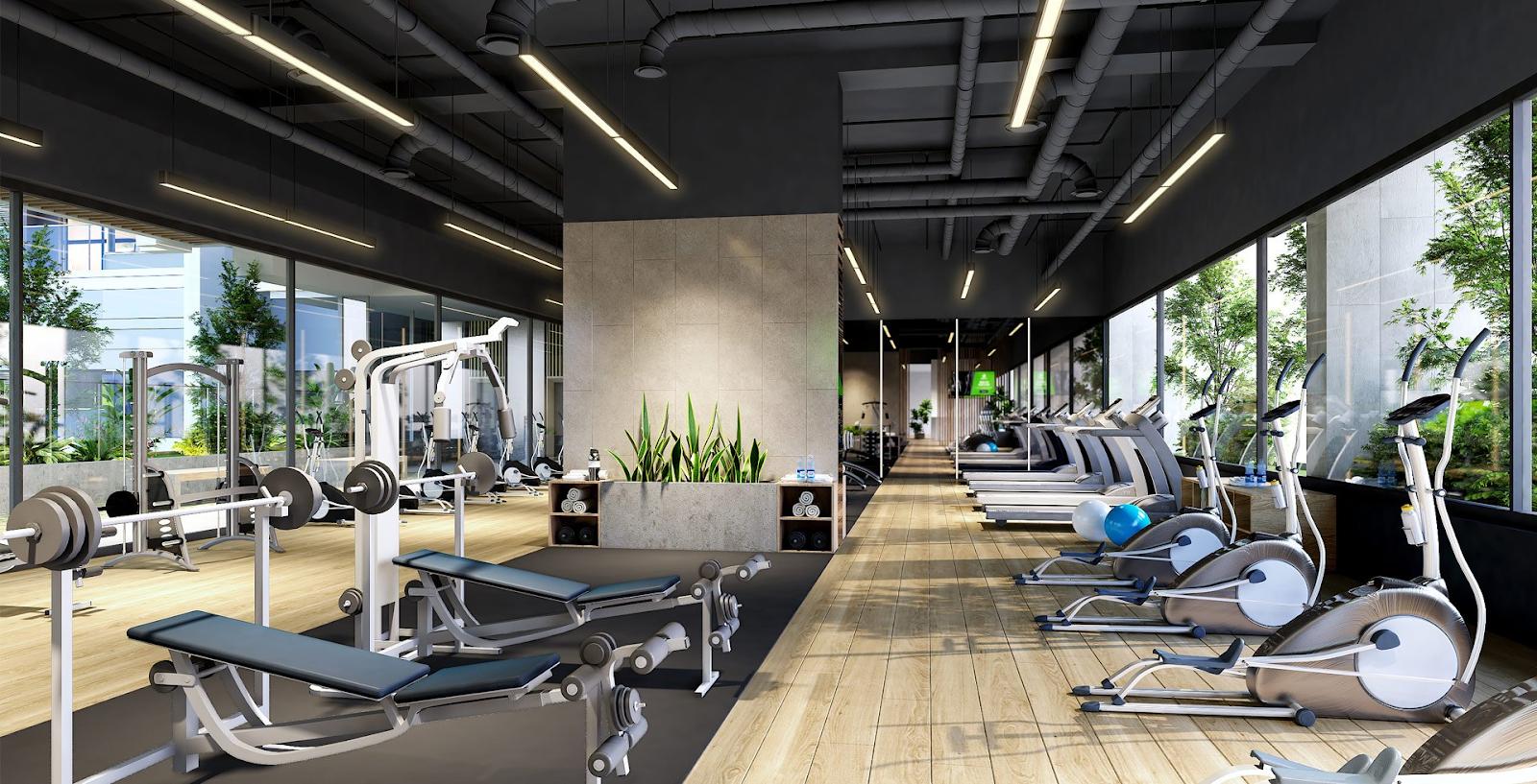 Phòng tập gym tại tầng trệt dự án Aio City Bình Tân