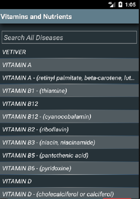 Vitamins and Nutrients (Free)- screenshot