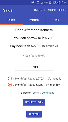Saida - Loans to your M-Pesa screenshot 1