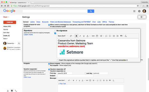 The Settings menu in Gmail allows a user to add his or her Setmore booking page URL to his or her email signature.