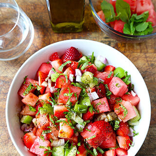 Watermelon, Strawberry and Tomatillo Salad.