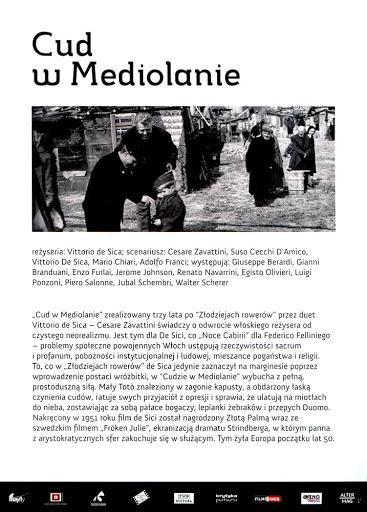 Tył ulotki filmu 'Cud W Mediolanie'