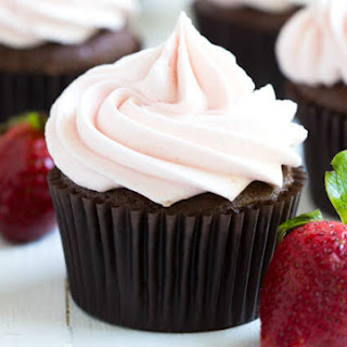 Chocolate Cupcakes with Strawberry Marshmallow Frosting.
