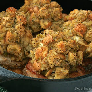 Cast Iron Skillet Apple Pie Pork Chops (Topped with Copycat Boxed Stuffing Mix).