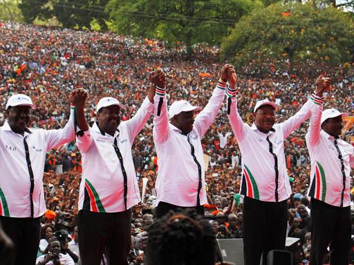 Nasa co-principals Raila Odinga, Musalia Mudavadi, Isaac Rutto, Moses Wetang'ula and Kalonzo Musyoka during a rally in Uhuru Park, Nairobi, on April 27, 2017.