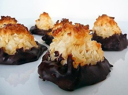 Chocolate-dipped Coconut Macaroon Cookies Recipe
