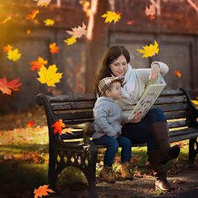 Autumn story by Piotr Owczarzak - Digital Art People ( bench, mother, park, book, leaves, boy,  )