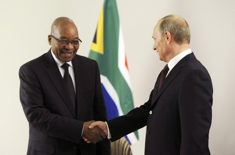 Presidents Jacob Zuma and Vladimir Putin. Picture: REUTERS