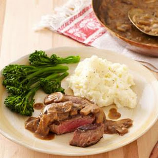 Seared Steak with Mustard-Mushroom Sauce.
